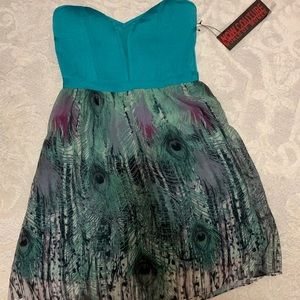 Wow Couture Strapless Teal Peacock Dress - Sz Med